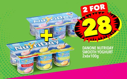 DANONE NUTRIDAY SMOOTH YOGHURT 2x6x100g, 2 FOR 28