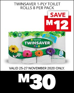 TWINSAVER 1-PLY TOILET ROLLS 8 PER PACK, M30